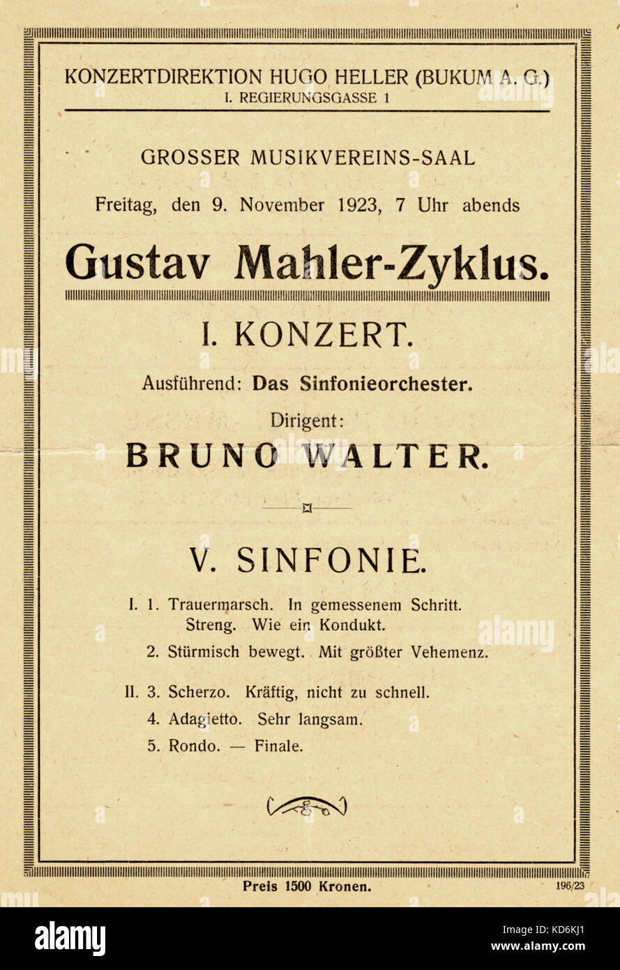Programme for Gustav Mahler's 5th Symphony conducted by Bruno Walter 9th November 1923  at Grosser Musikvereins - Stock Image