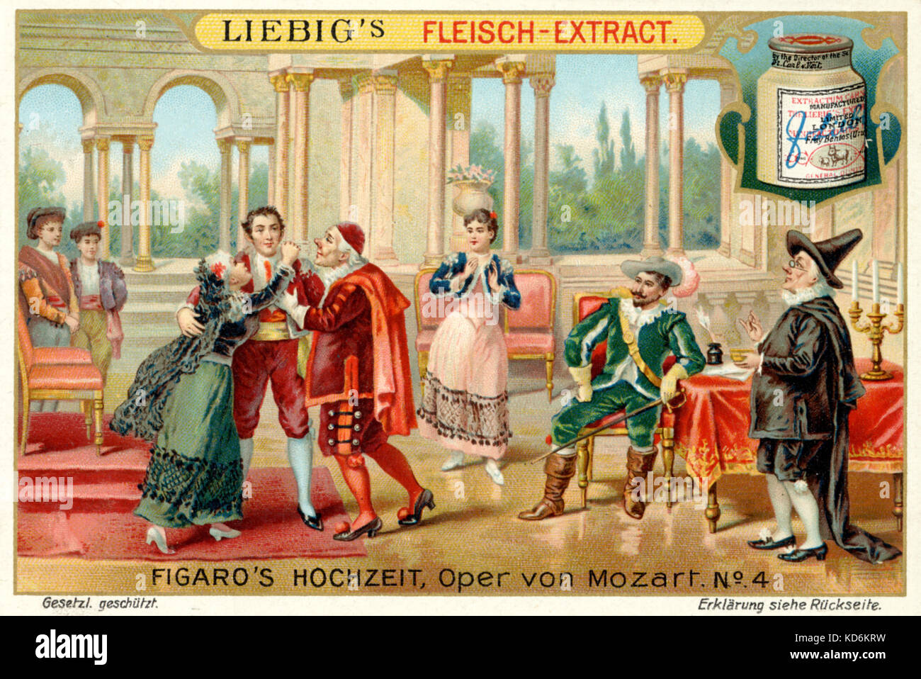 Wolfgang Amadeus Mozart opera Nozze di Figaro (Marriage of Figaro).  Illustration to Act III - Figaro's trial with Count & Susanna and his  reunion with parents Marcellina and Bartolo Libretto: Lorenzo da