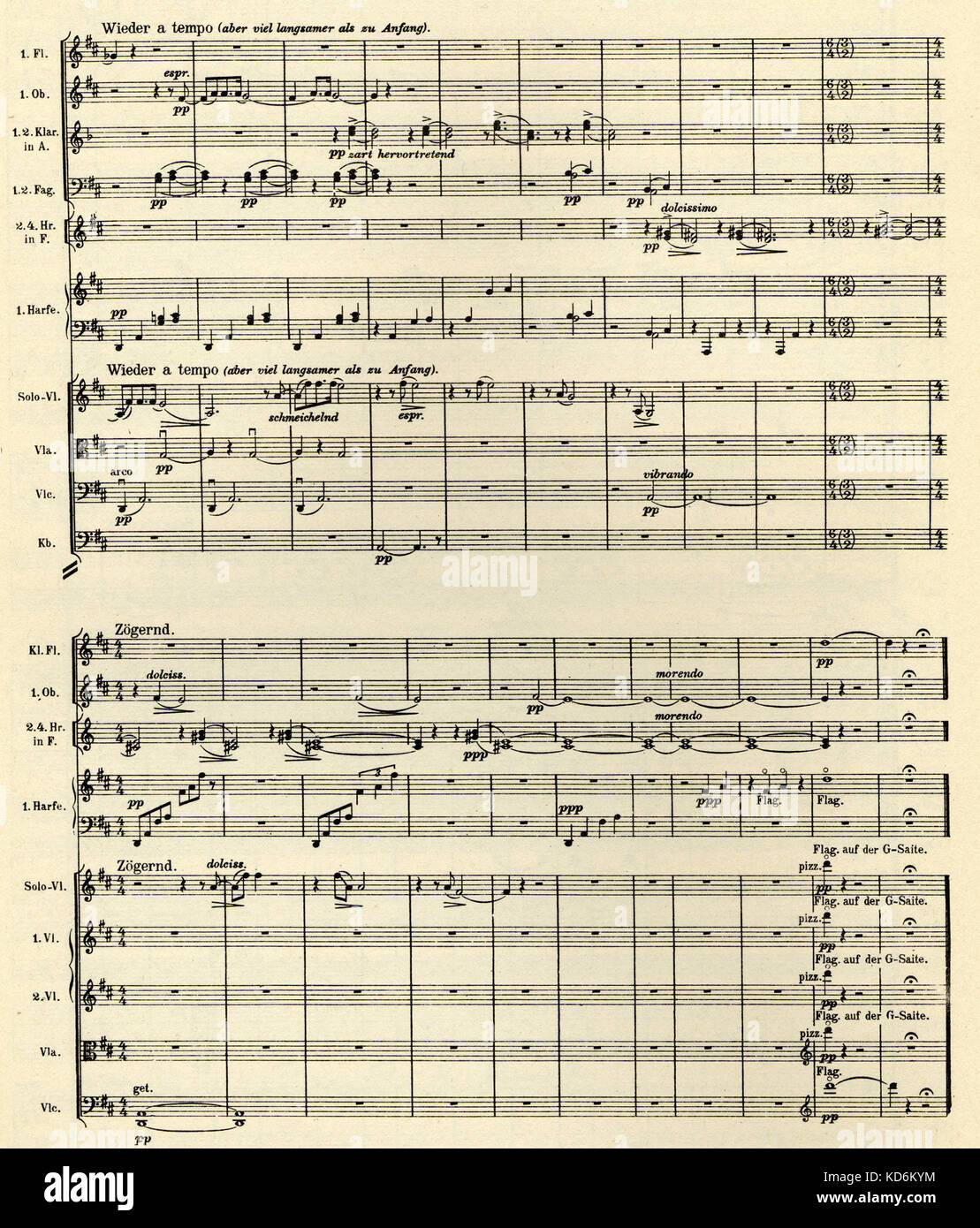 Gustav Mahler 9th Symphony, last page of first movement. Printed score, published by Universal Edition, 1912. No. - Stock Image
