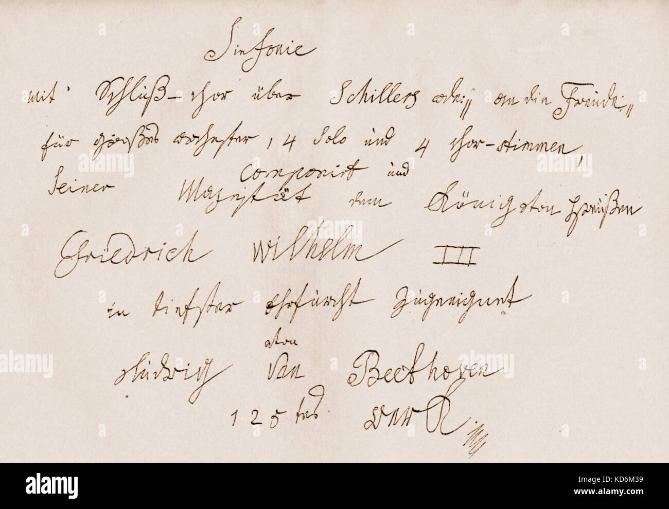 Ludwig van Beethoven dedication note for 9th Symphony made out to King Friedrich Wilhelm III of Prussia, in the - Stock Image