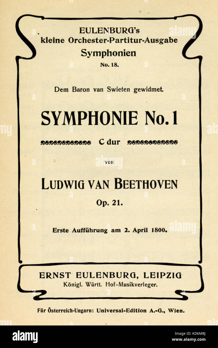 Ludwig van Beethoven - title page of score for Symphony No 1 in D