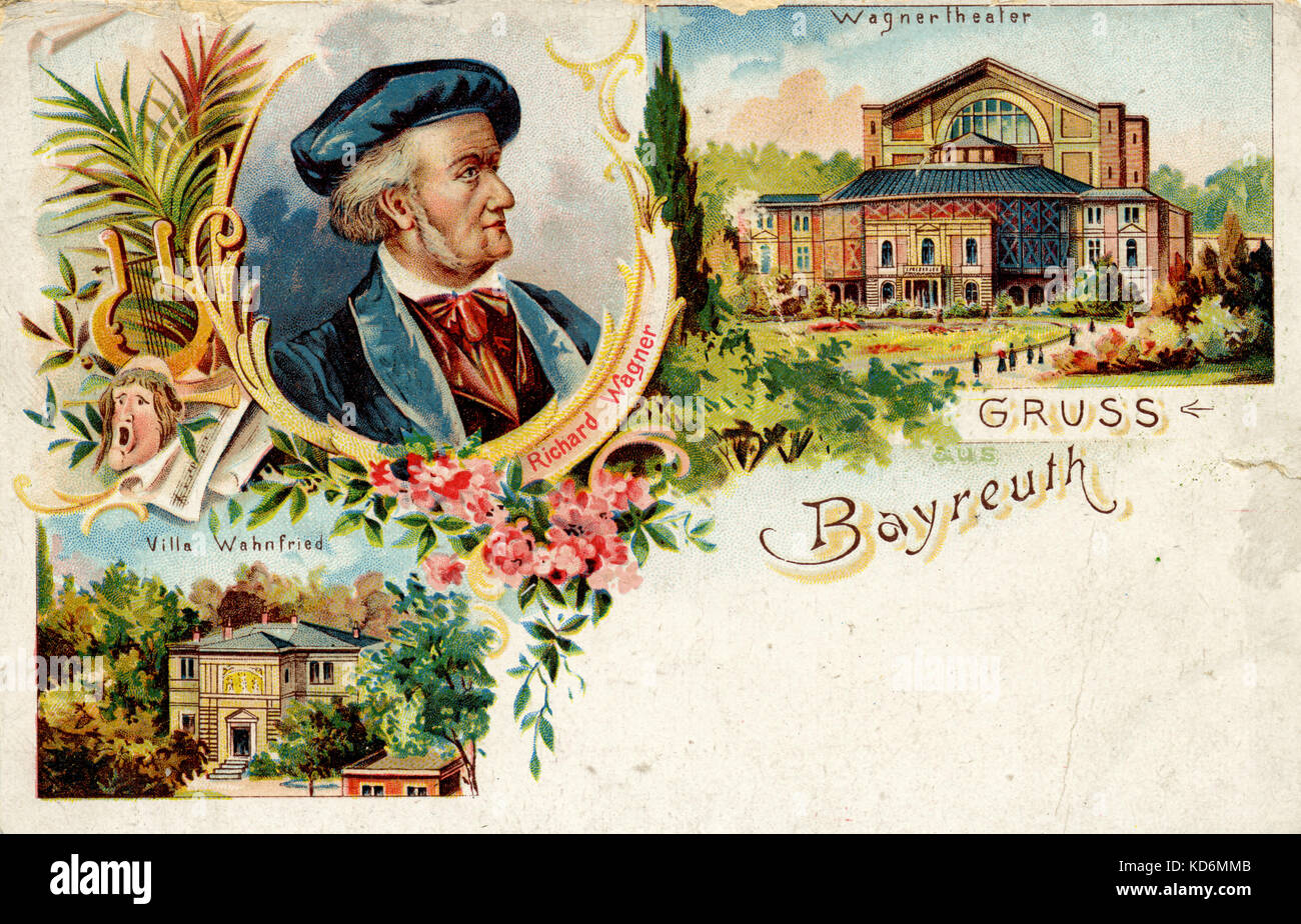 Richard Wagner in Bayreuth with Festspielhaus / Festival House and Villa Wahnfried.  Postcard. German composer & Stock Photo