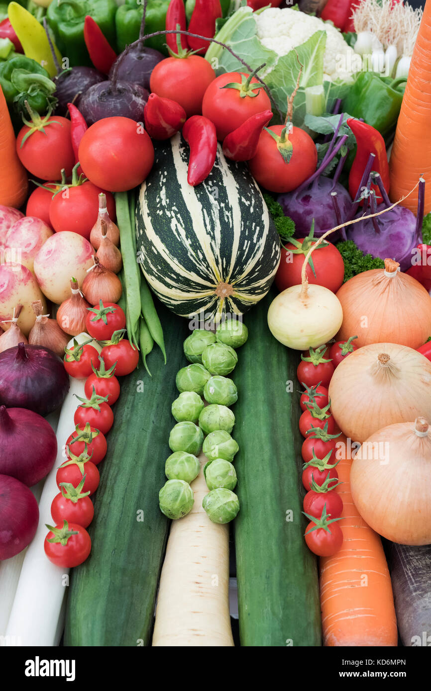 Vegetable trug displays at the Malvern Autumn Show, Worcestershire, UK Stock Photo