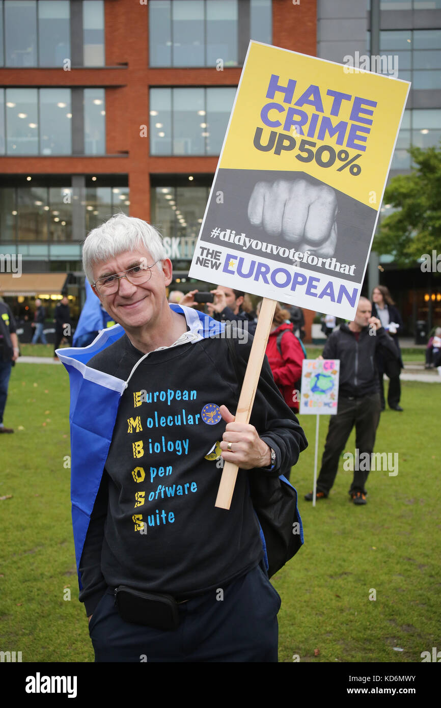Hate crime up 50% placard at Manchester #StopBrexit demo - Stock Image