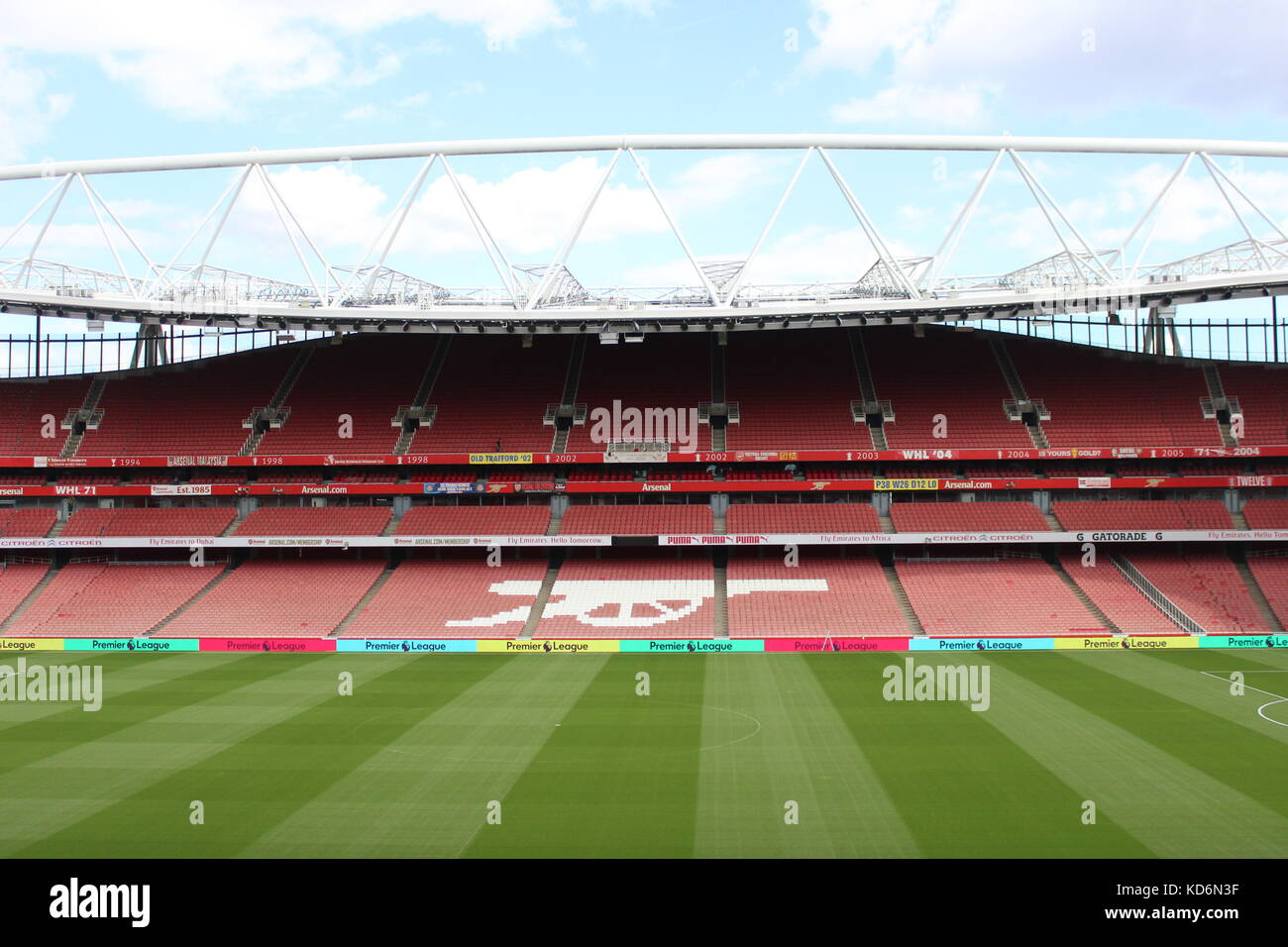 Emirates Stadium, London during August 2016, shortly before Arsenal's opening 16/17 league game - Stock Image