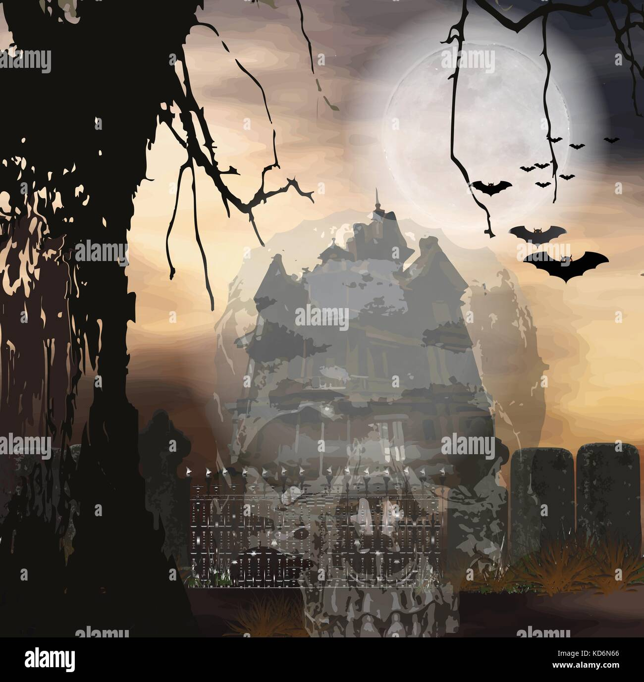 Halloween background on dark night, twilight with full moon backdrop, graveyards, Scary and Silent ,cross on weary - Stock Image