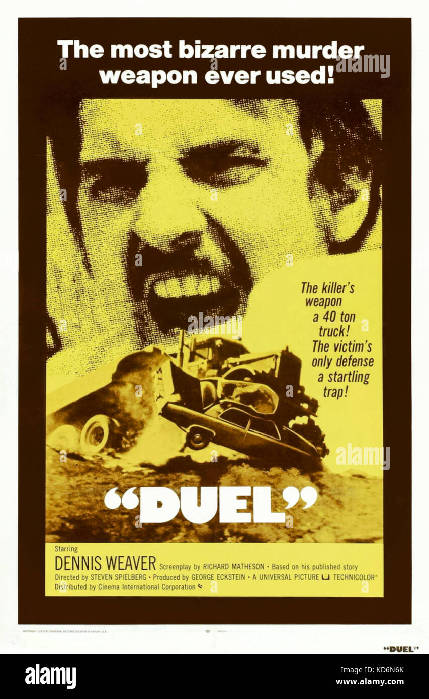 Duel (1971) directed by Steven Spielberg and starring Dennis Weaver, Jacqueline Scott and Eddie Firestone. The worst - Stock Image