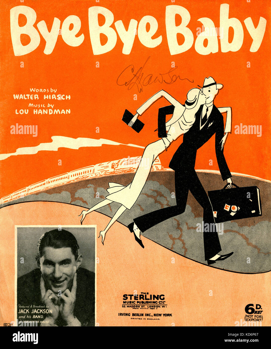 'Bye Bye Baby'  score cover.  written by Walter Hirsch and composed by Lou Handman, with illustration showing - Stock Image