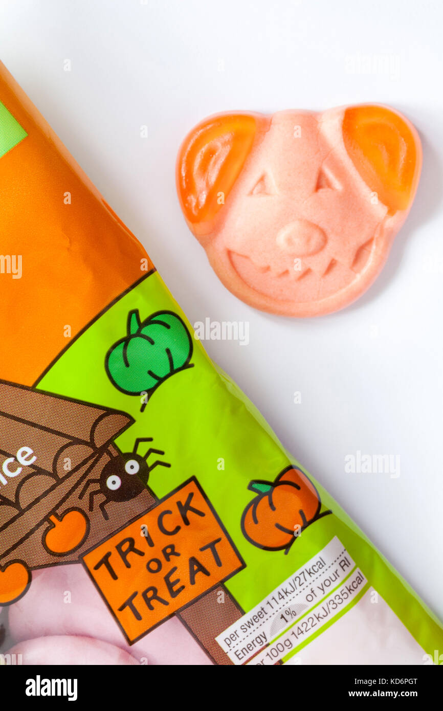 M&S Percy pumpkin sweets spooky soft gums with real fruit juice ready for trick or treat Halloween - 1 out of - Stock Image