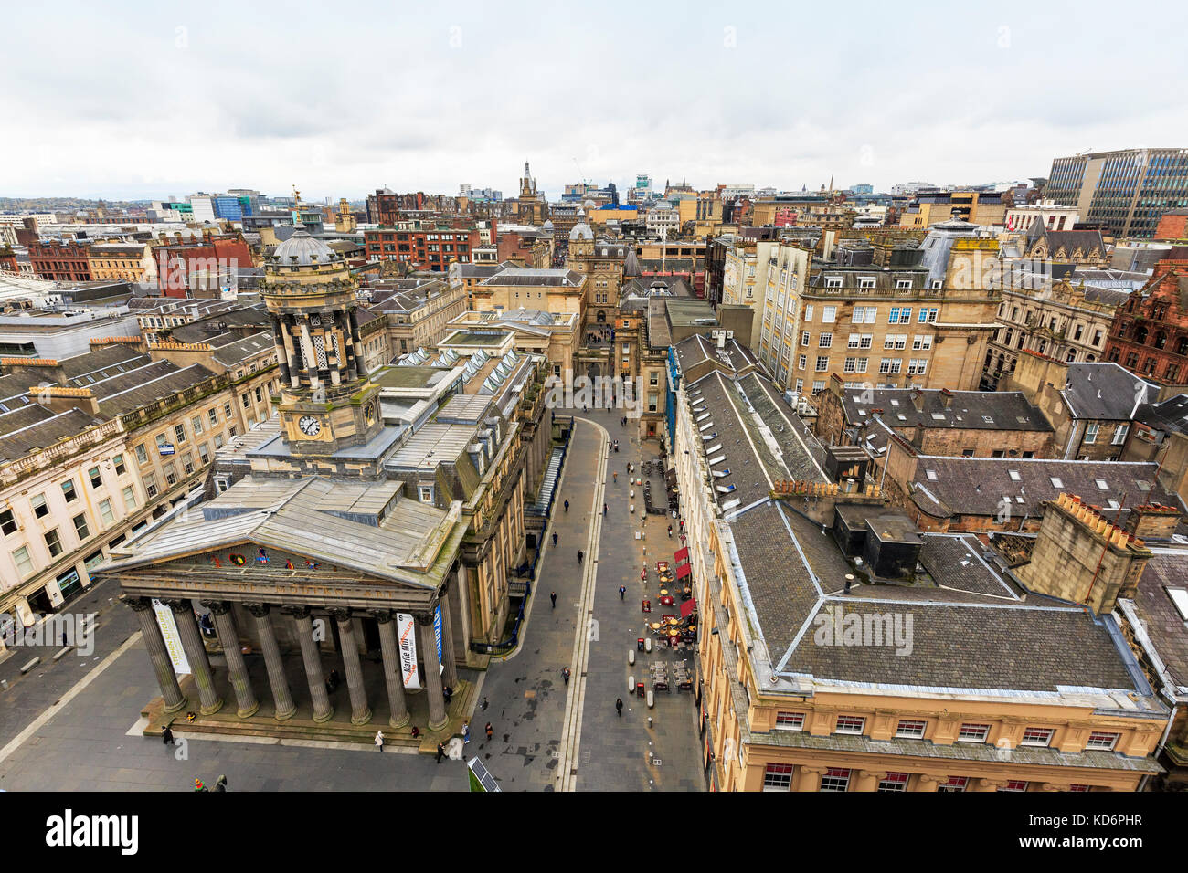 View over the Gallery of Modern Art, GOMA. on Queen Street at Royal Exchange Square, Merchant City district, Glasgow, - Stock Image