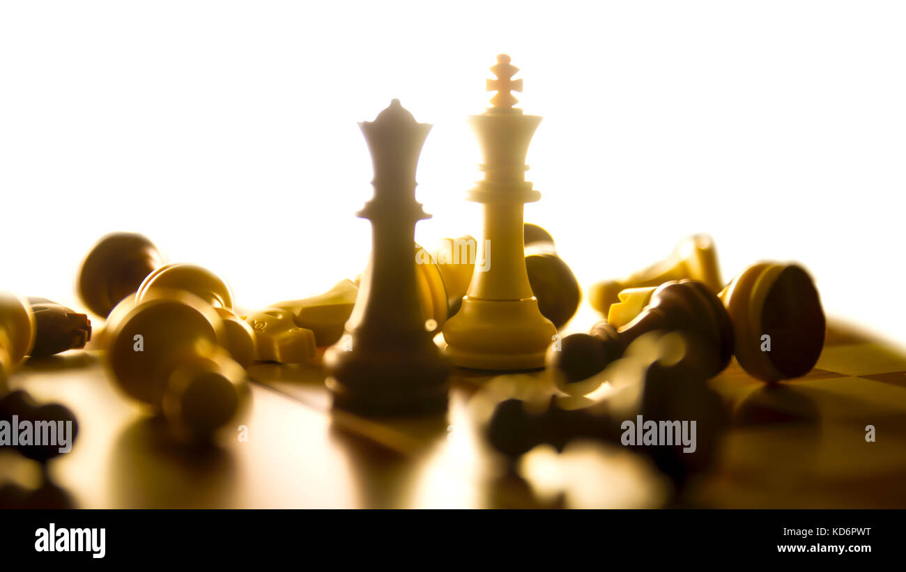 An Abstract Art Showing The Destruction Of Two Chess Pieces