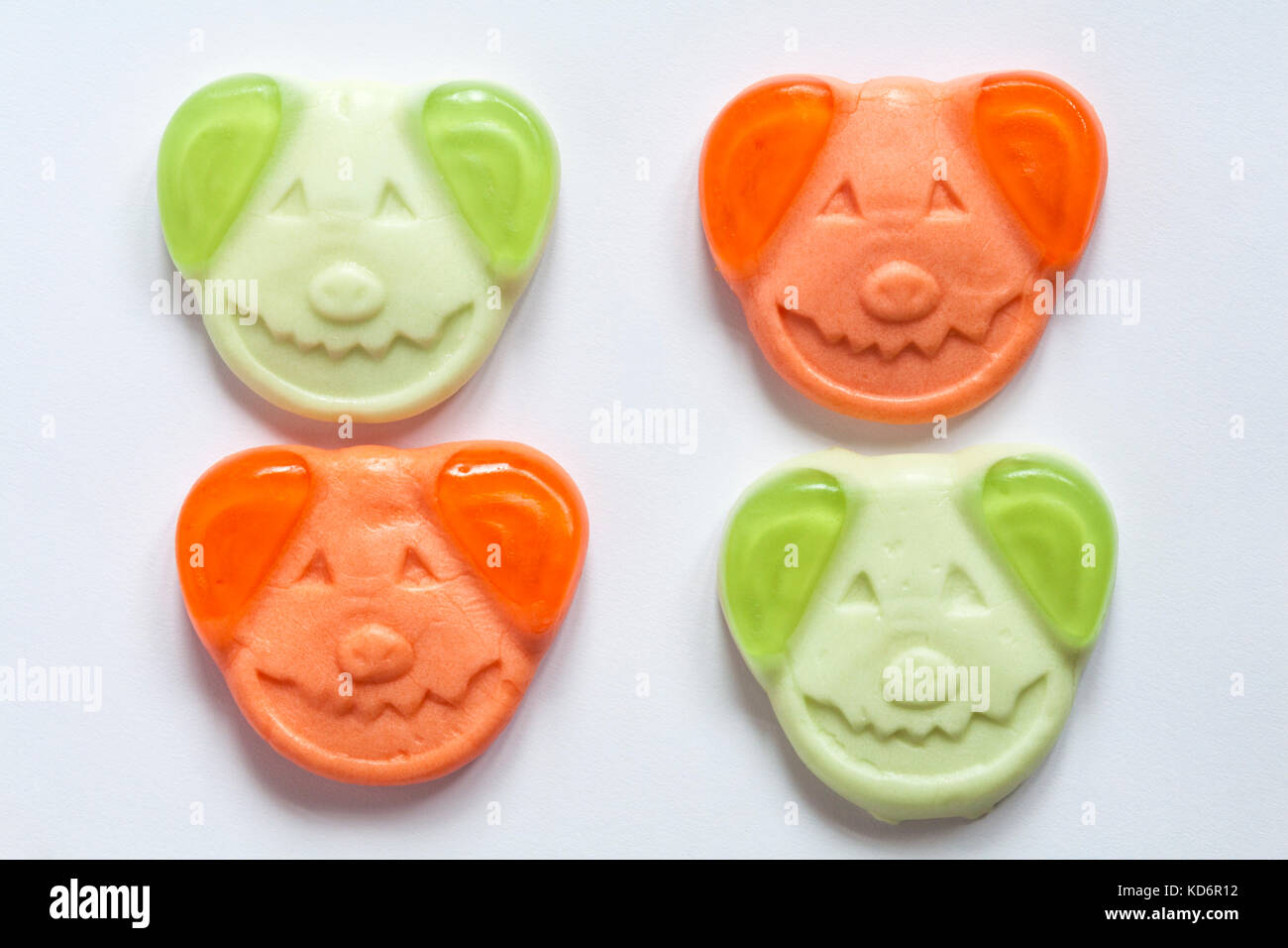 M&S Percy pumpkin sweets spooky soft gums with real fruit juice ready for trick or treat Halloween out of packet - Stock Image