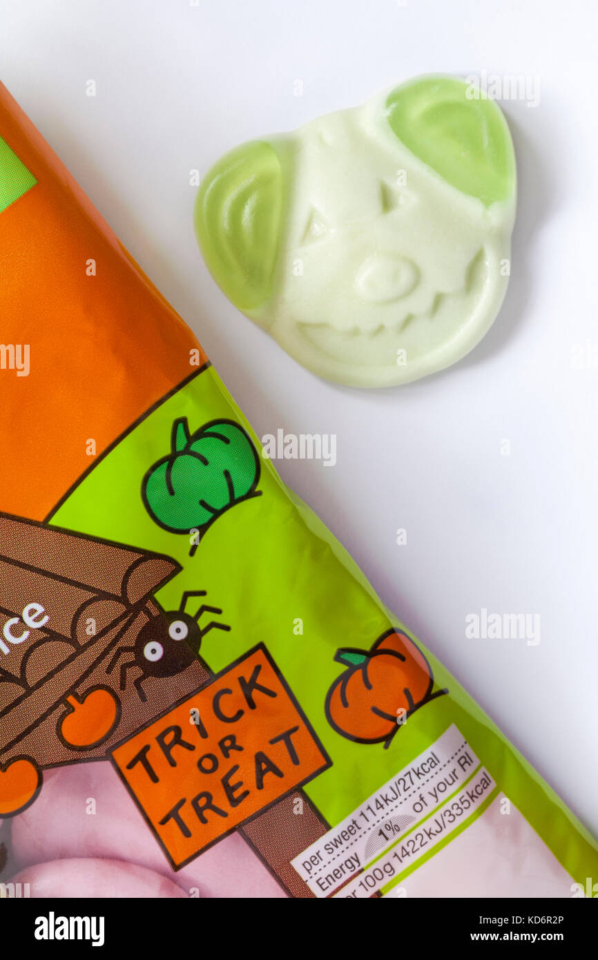 M&S Percy pumpkin sweets spooky soft gums with real fruit juice ready for trick or treat Halloween set on white - Stock Image