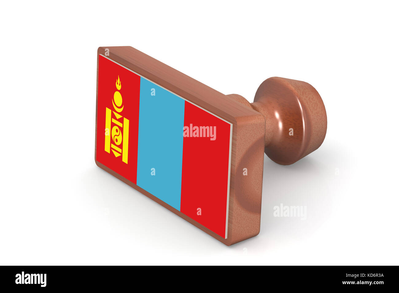 Wooden stamp with Mongolia flag image with hi-res rendered artwork that could be used for any graphic design. - Stock Image