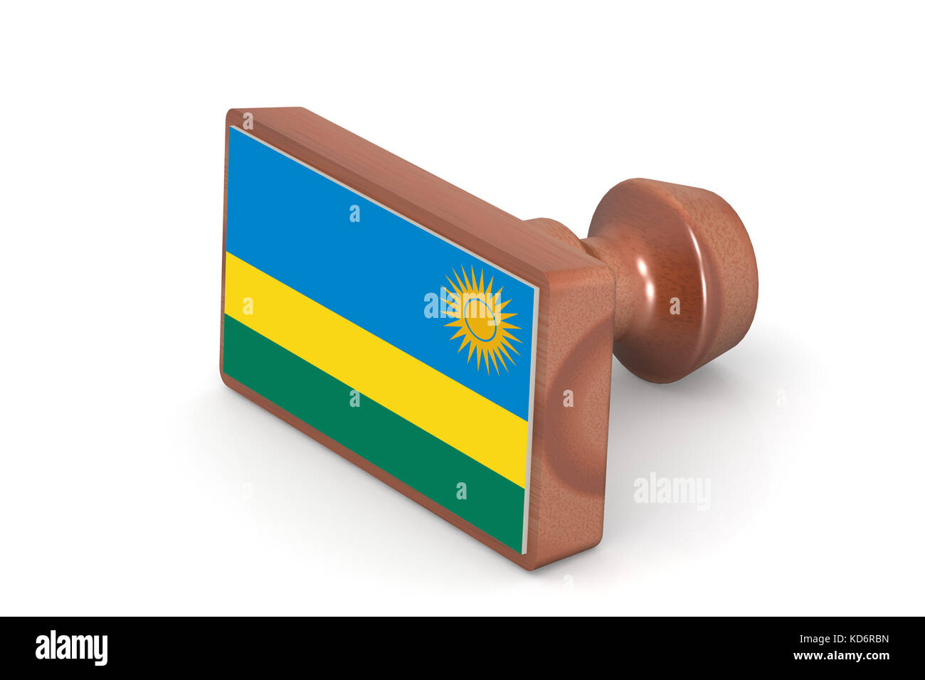 Wooden stamp with Rwanda flag image with hi-res rendered artwork that could be used for any graphic design. - Stock Image