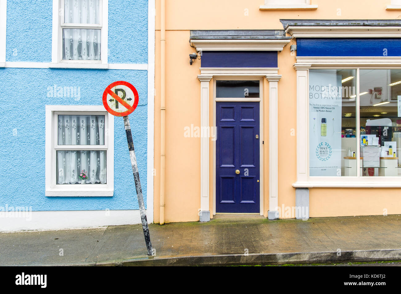 No parking sign in Schull Main Street, Schull, Ireland. - Stock Image