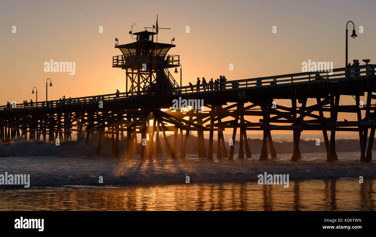 San Clemente, California Pier at sunset Stock Photo