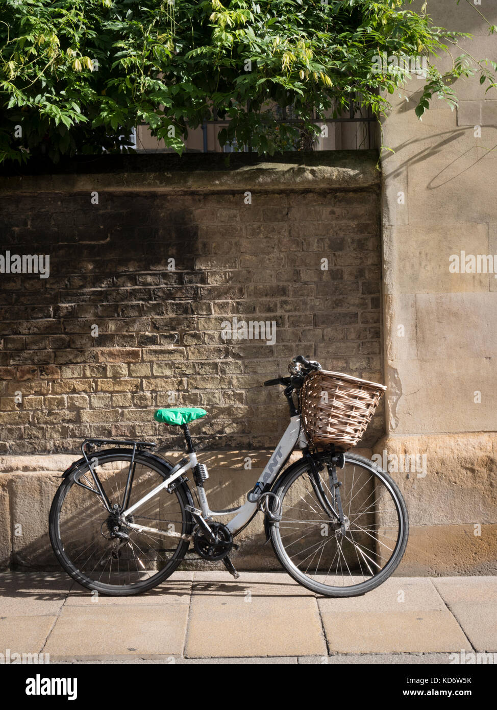 A bicycle with a basket leaning up against the wall of Sidney Sussex College part of Cambridge University UK in Stock Photo