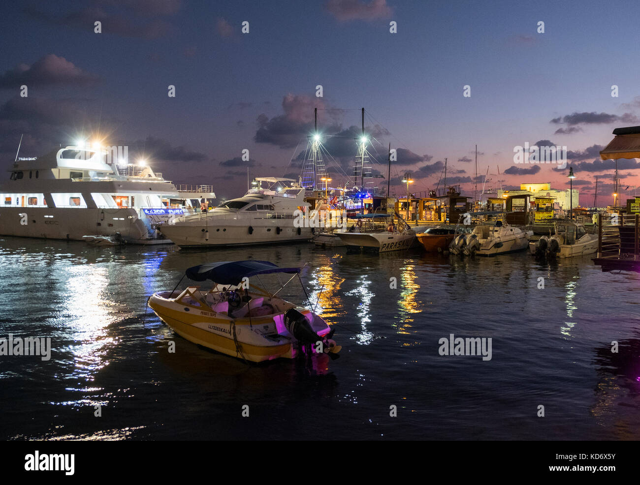 Fishing boats and pleasure craft moored in Paphos Harbour, Kate Paphos, Cyprus. Stock Photo