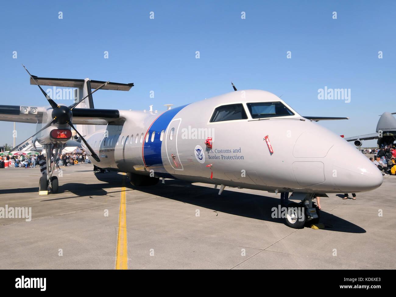 Homestead, Florida - November 6, 2010: US ustoms and Border protection Dash-8 airplane visiting the Homestead Air - Stock Image