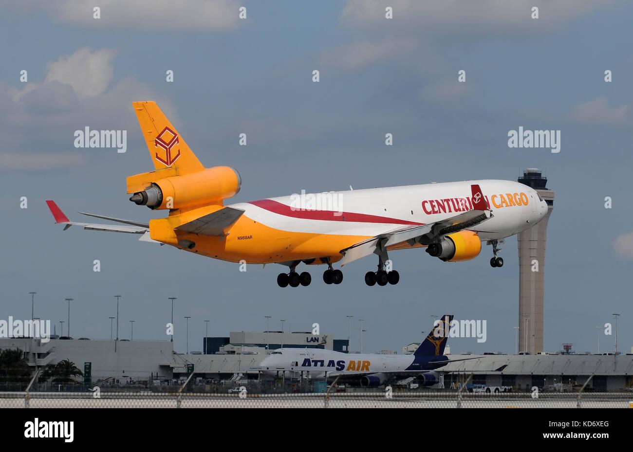 Miami, Florida - January 30, 2011: Heavy cargo jet from Centurion Air Cargo landing at Miami International. Miami - Stock Image