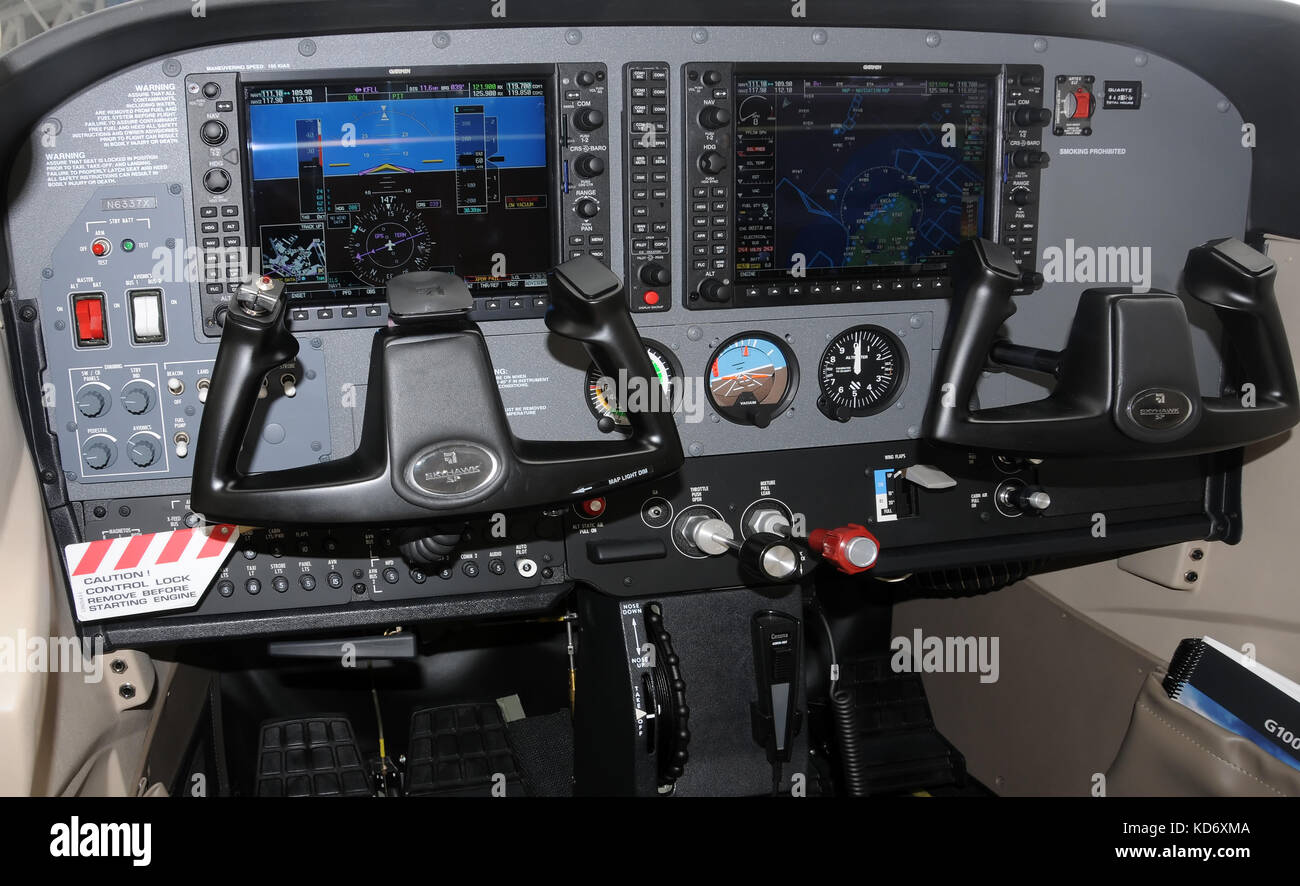 Miami, USA - March 7, 2009: State of the art Garmin G1000 avionics suite mounted on a light private propeller airplane. - Stock Image