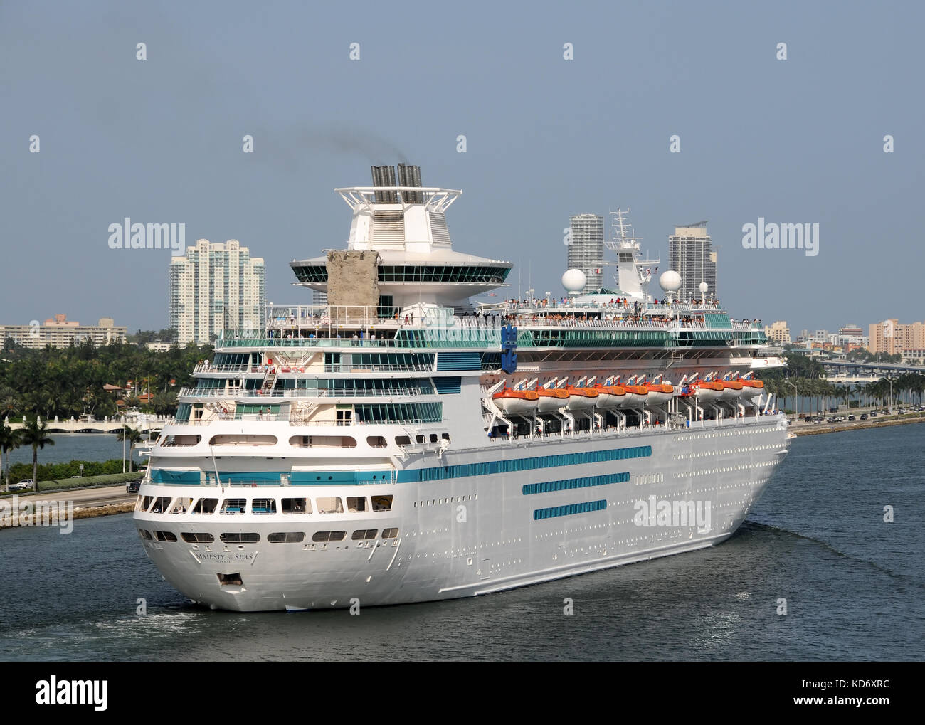 Miami, USA - July 18, 2008: Majesty of the Seas of Royal Caribbean Cruise Lines departing the Port of Miami. Miami - Stock Image
