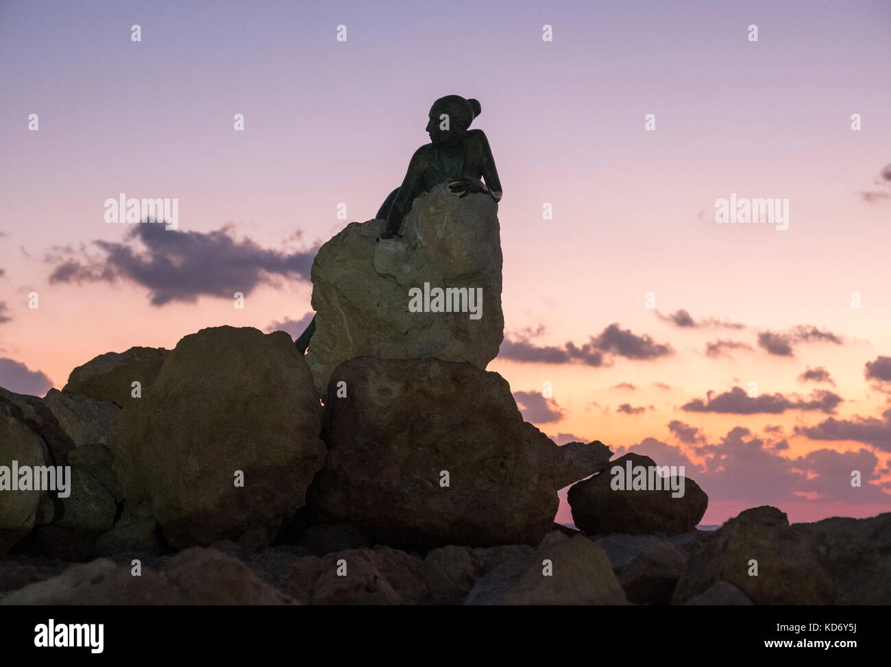"""Sol Alter"" by Yiota Ioannidou, this sculpture or statue sits next to the Paphos Coastal path near Paphos Fort, - Stock Image"