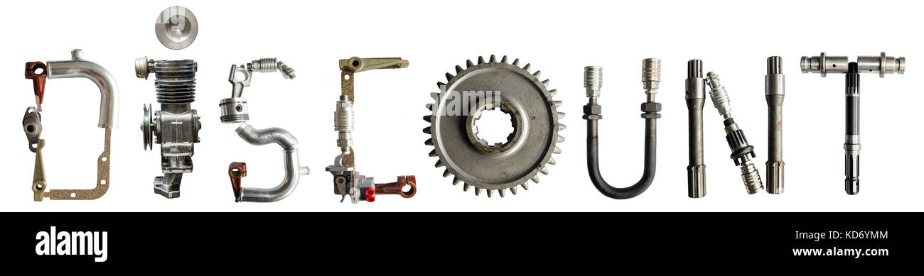 Word 'Discount' written with various automotive, agriculture heavy machinery parts, arranged to form letters. - Stock Image