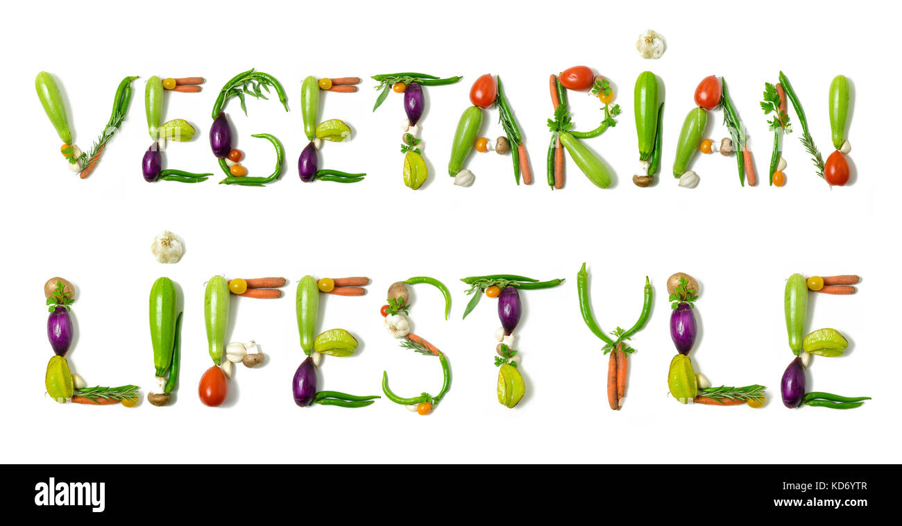 Sentence 'vegetarian lifestyl' written with vegetables as a  concept for healthy lifestyle, vegetarian or - Stock Image