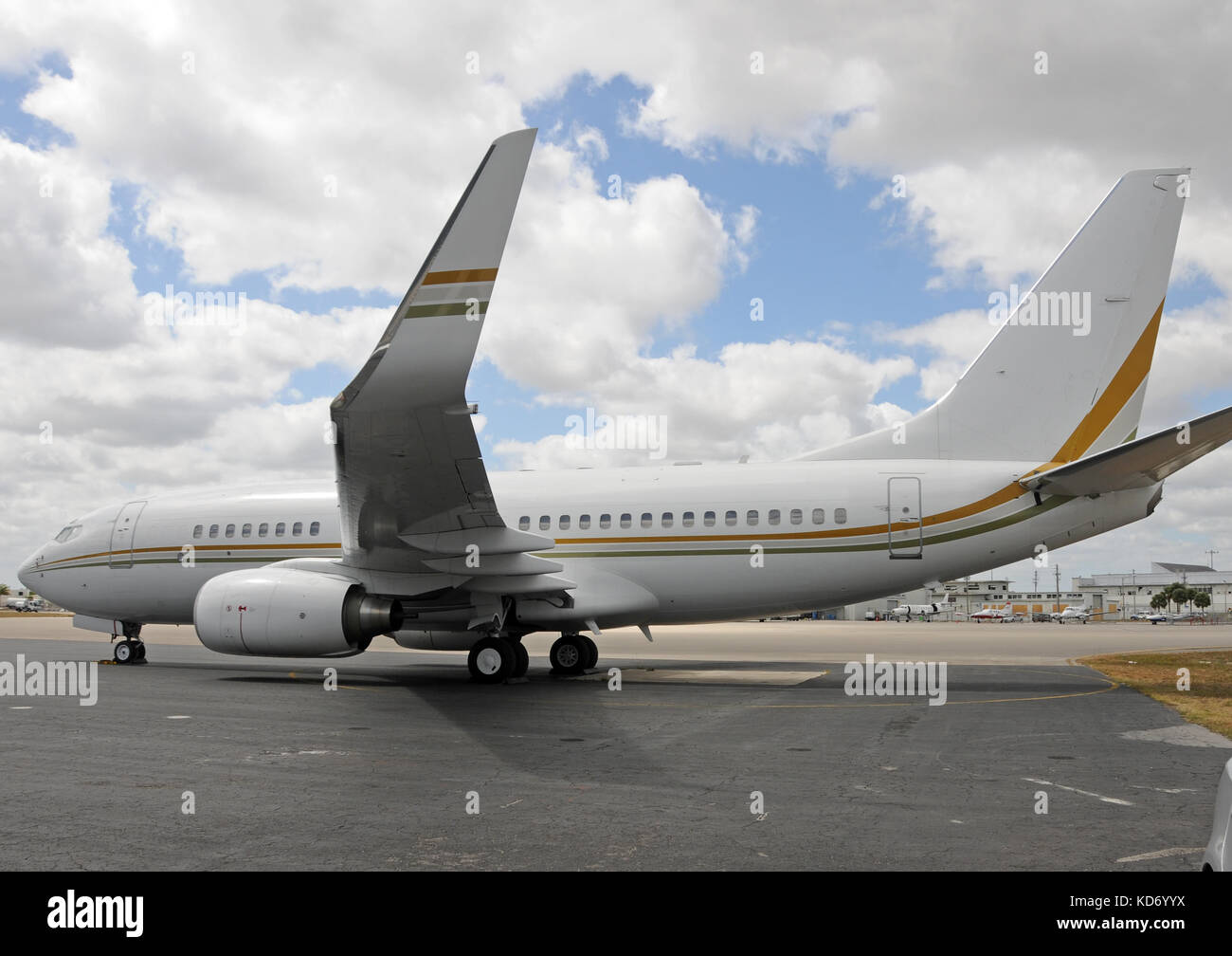 Modern jet airplane with giant winglets - Stock Image