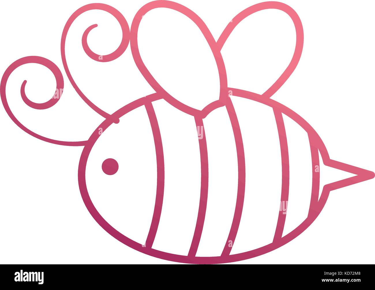 cute bee honey flying insect animal - Stock Vector