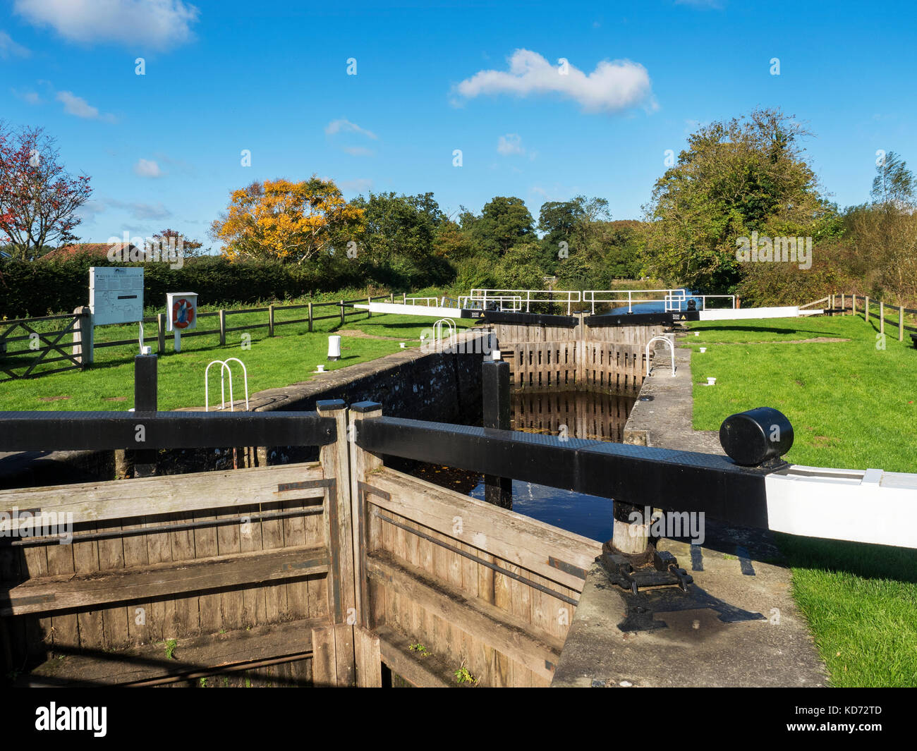 Westwick Lock on Westwick Cut part of the River Ure Navigation Bishop Monkton North Yorkshire England - Stock Image