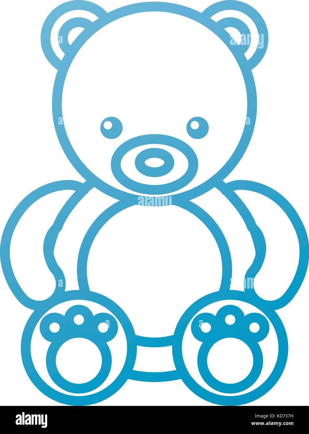 cute teddy bear sitting toy furry adorable - Stock Vector