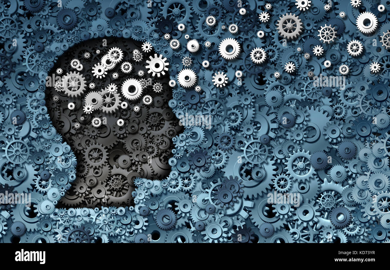 Neuroscience development and training concept as a group of cog wheels and gears shaped as human head with information - Stock Image