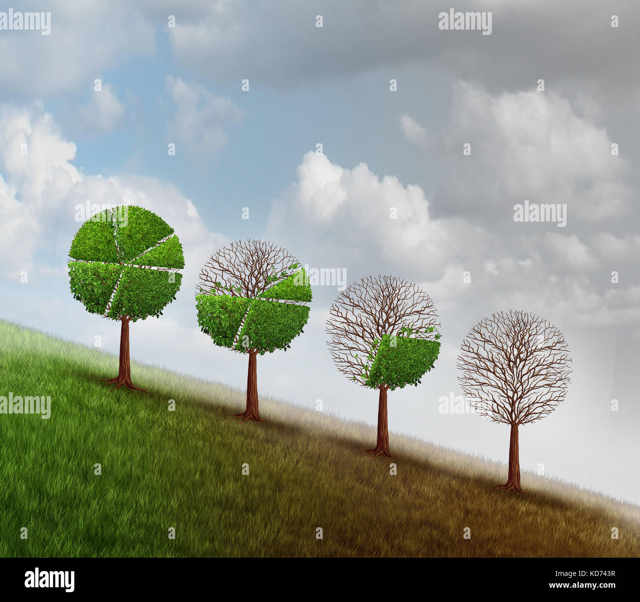 Economic decline and business recession change as a group of trees shaped as a financial diagram chart losing leaves - Stock Image