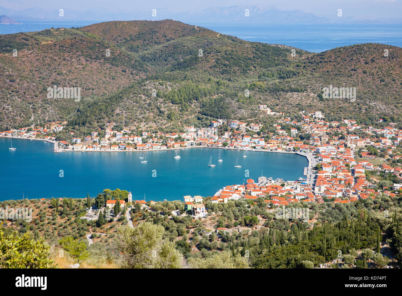 Looking down to the harbour town of Vathy the capital of Ithaka in the Ionian Islands of Greece - Stock Image