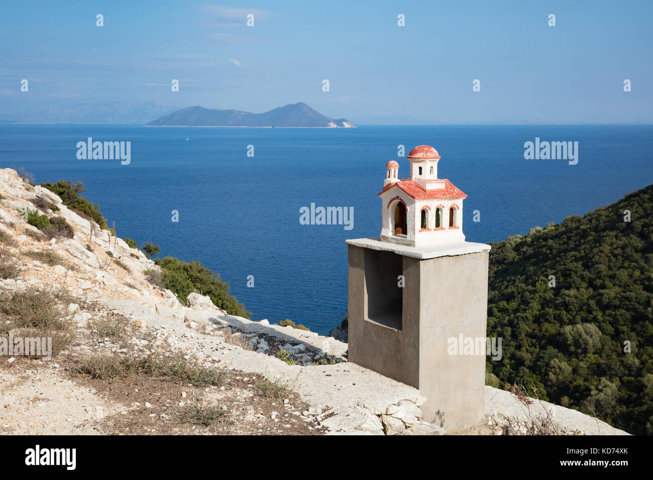 Roadside shrine in the form of a church on the island of Ithaka in the Ionian Islands Stock Photo