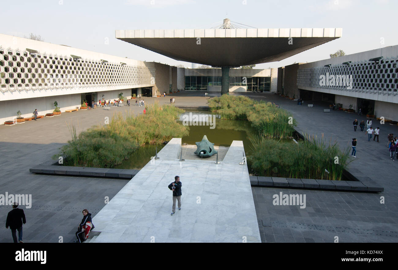 Mexico City, Mexico - 2017: Courtyard of the National Museum of Anthropology, the largest and most visited museum - Stock Image