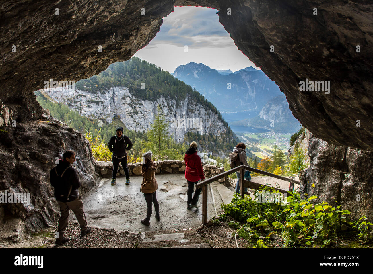 Dachstein Mountain range, Region in Oberšsterreich, Upper Austria, part of the Alps, hiking path, exit of the ice - Stock Image