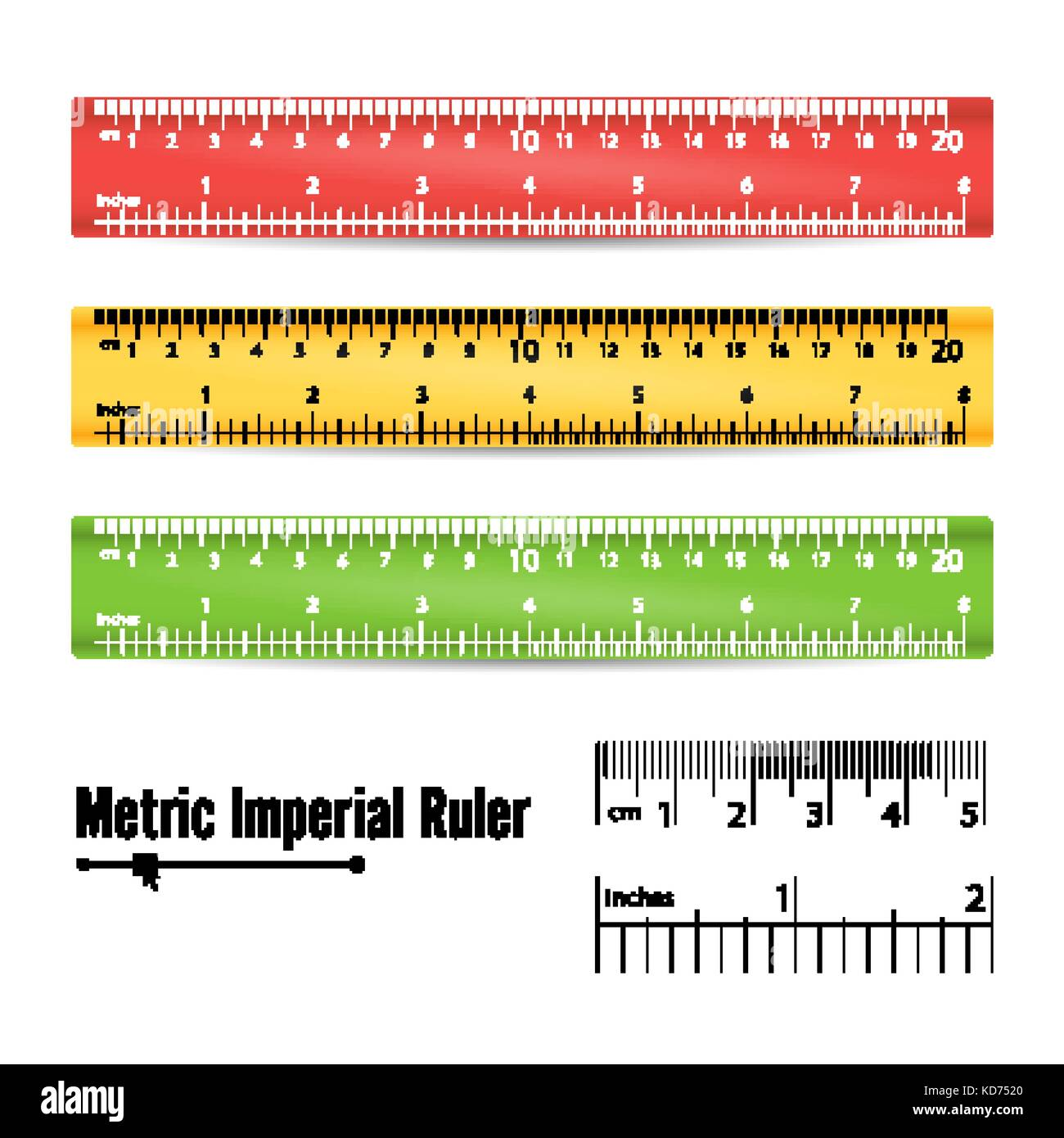 School Measuring Ruler Vector. Measure Tool. Millimeters, Centimeters And Inches Scale. Isolated Illustration - Stock Vector