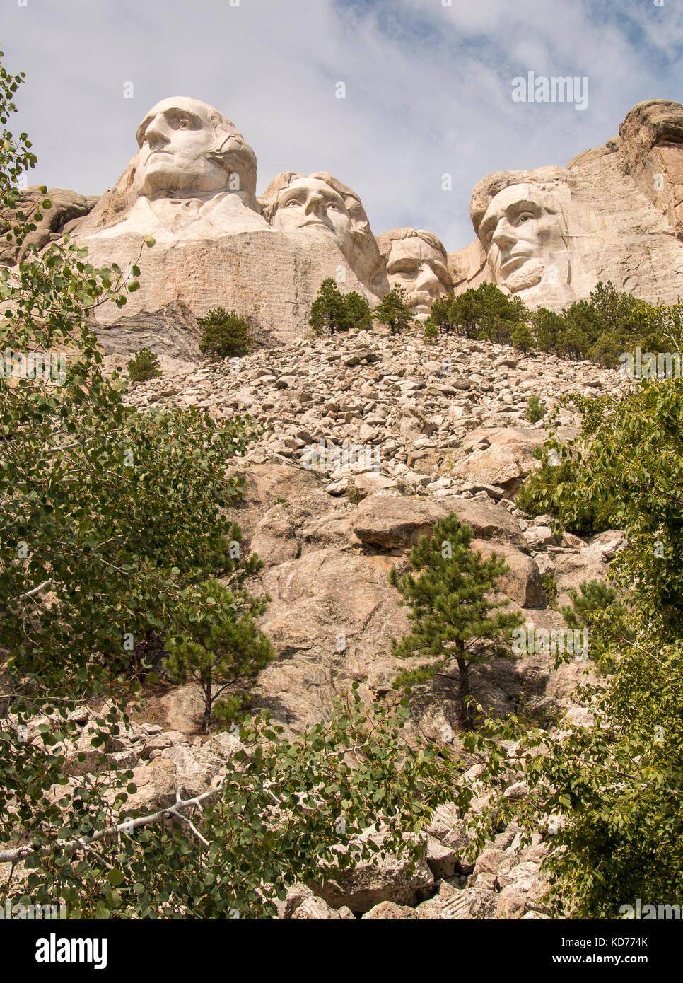BLACK HILLS, SOUTH DAKOTA/USA - August 25, 2014: A view upward at Mount Rushmore National Monument. - Stock Image