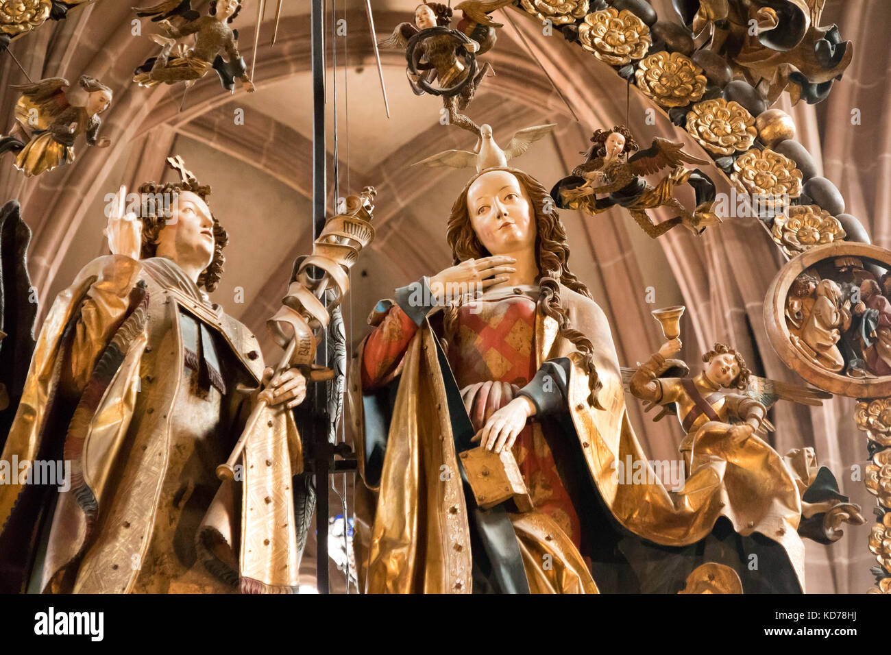 detail of Annunciation  or Angelic Salutation, limewood sculptures by Veit Stoss, 1518, church of  St. Lorenz Nuremberg, - Stock Image