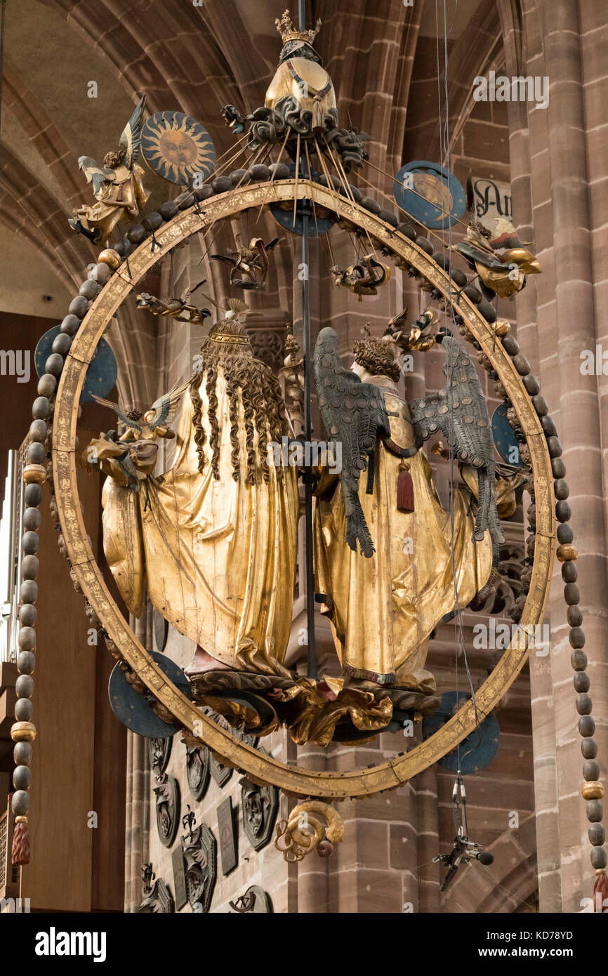 rear of Annunciation  or Angelic Salutation, limewood sculptures by Veit Stoss, 1518, church of  St. Lorenz Nuremberg, - Stock Image