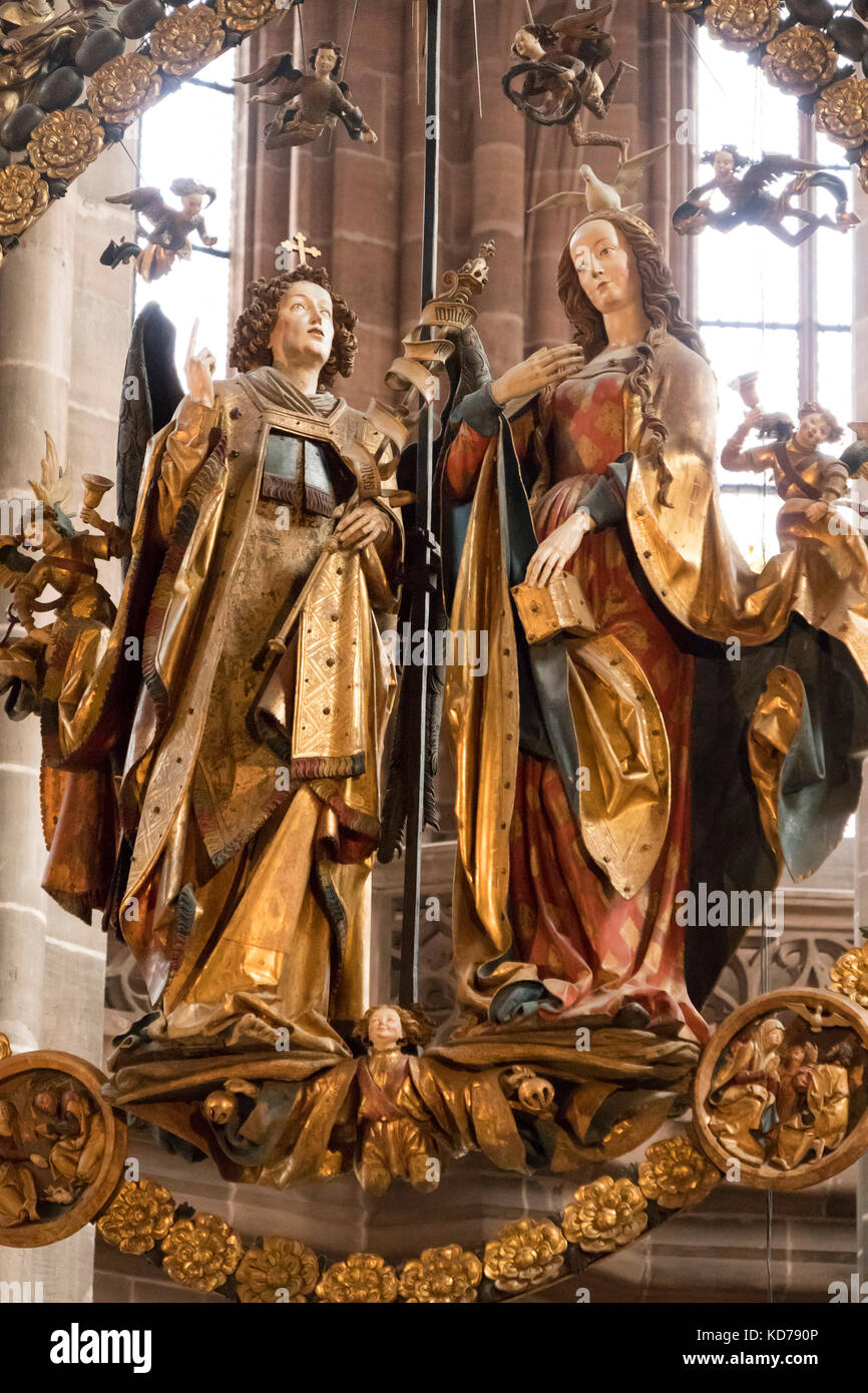Annunciation  or Angelic Salutation, limewood sculptures by Veit Stoss, 1518, church of  St. Lorenz Nuremberg, Bavaria, - Stock Image