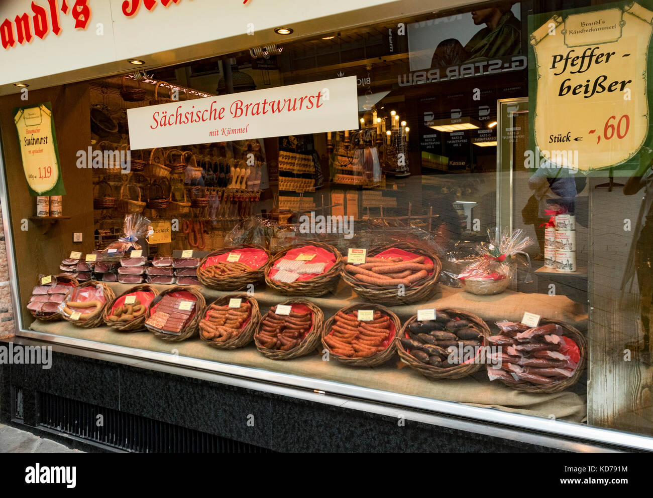 shop window sign sächsische Bratwurst mit kümmel, Saxon sausage with cumin, Nuremberg, Bavaria, Germany Stock Photo