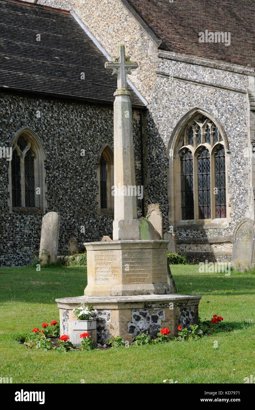 War Memorial,  Steeple Morden, Cambridgeshire ,by Jeffrey Lucas was dedicated on Sunday 12 December 1920 and unveiled - Stock Image