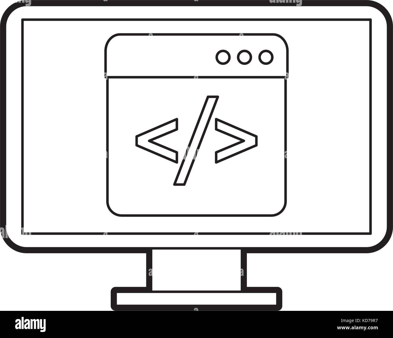 programming window with script code html computer - Stock Image