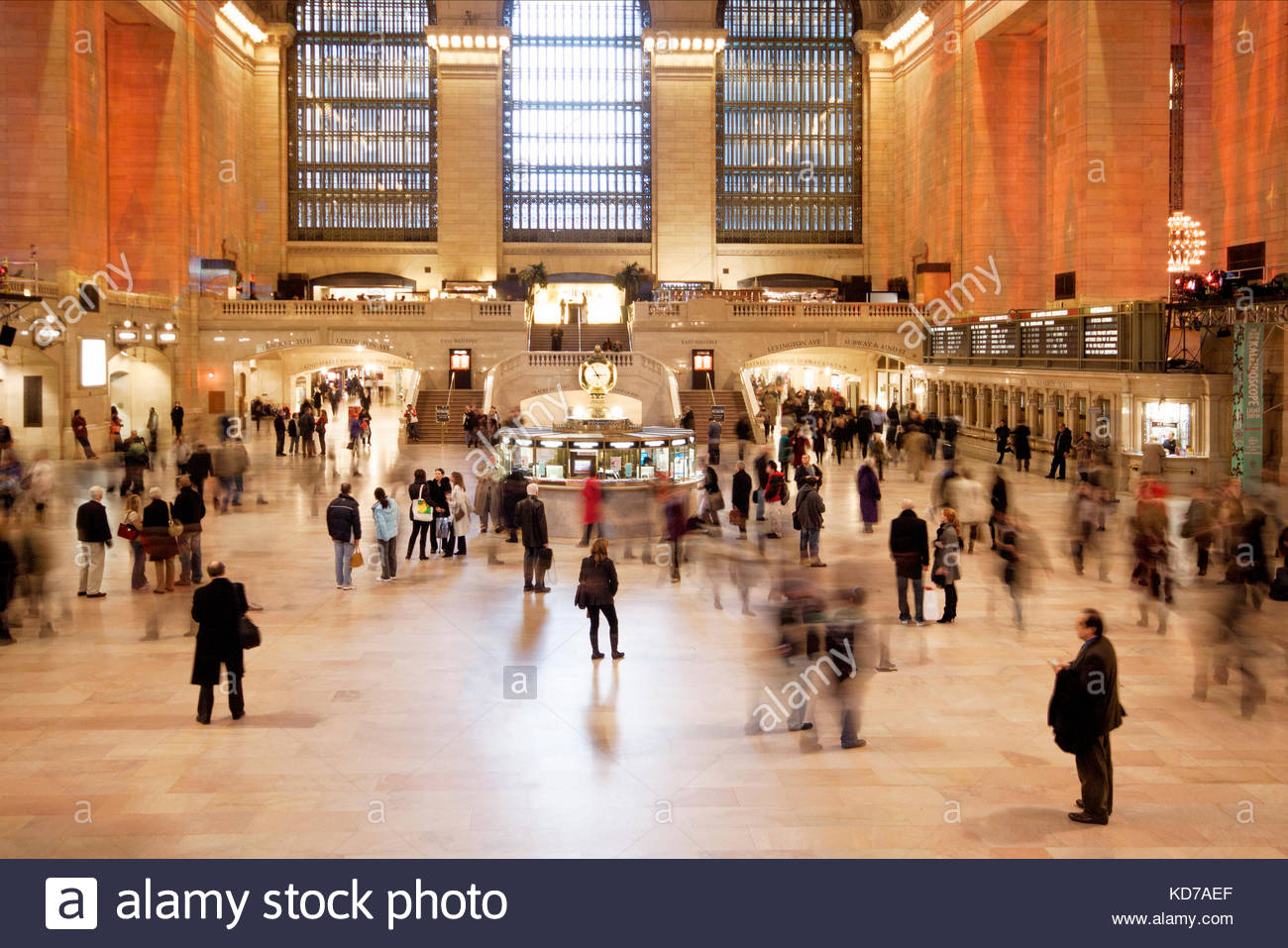 The busy  concourse or main hallway at Grand Central Terminal, Manhattan, New york. People are blurred as they move - Stock Image