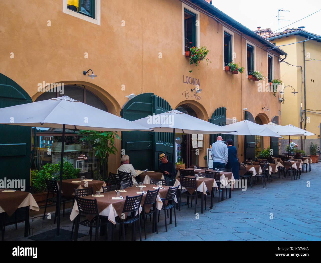 Beautiful restaurant in the historic city center of Lucca Stock Photo